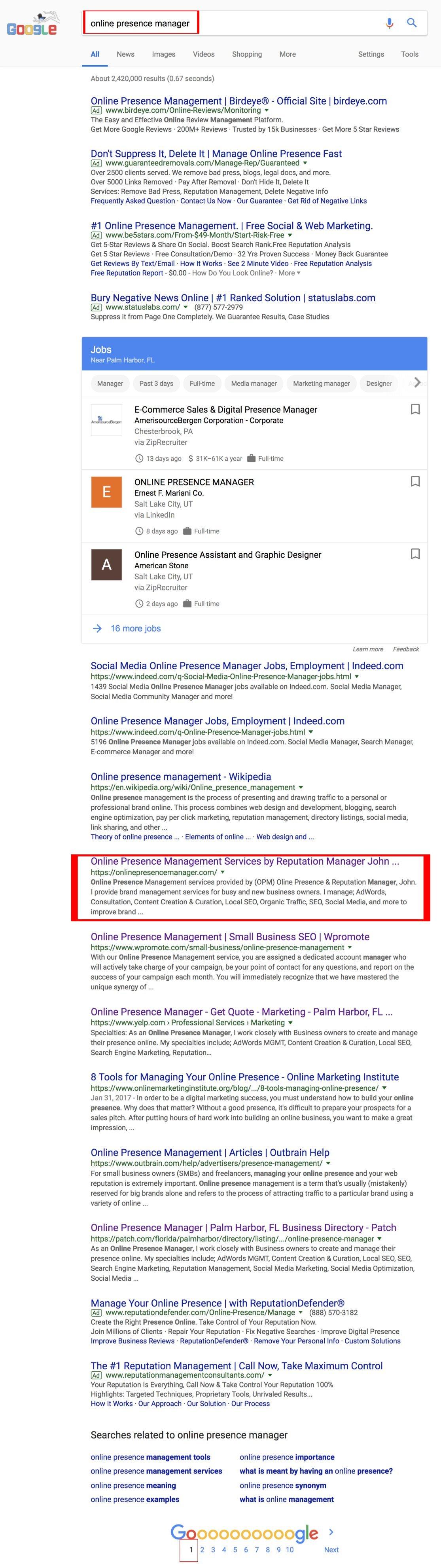 Google online presence manager