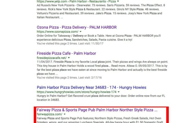 Google pizza places near me