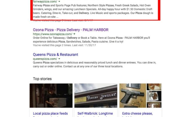 Google ranking pizza place