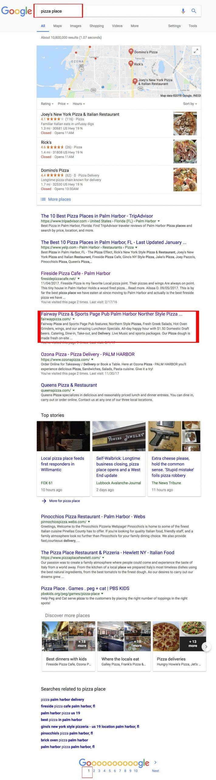Google ranking pizza place