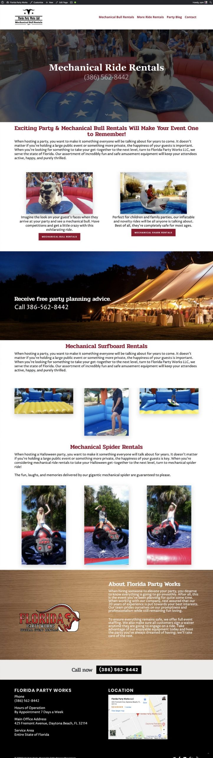 Web Design Mechanical Bull Rental