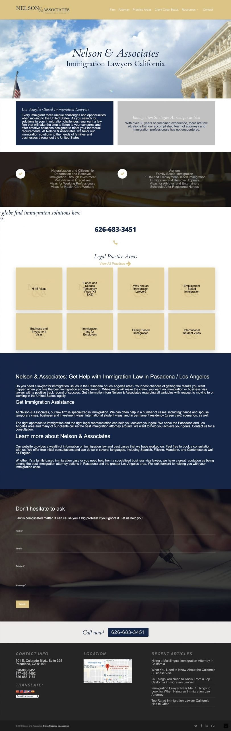 Web Design Neslon Immigration Law